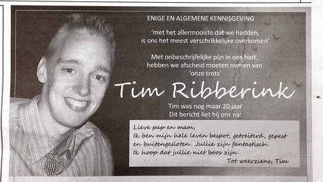 PAROOL - Omstreden column op verzoek familie Tim Ribberink geschrapt - BINNENLAND - PAROOL