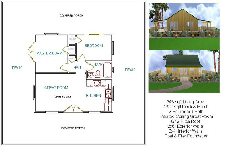 Two bedroom 24x24 plan mostly small houses pinterest 24x24 floor plans