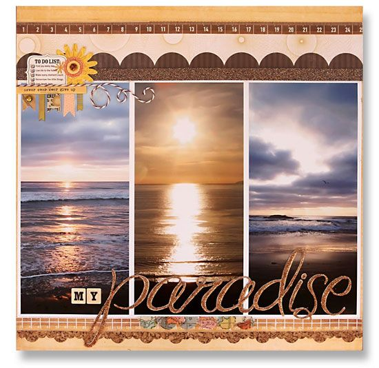 """My Paradise"" scrapbook layout by Suzy Plantamura for Creating Keepsakes magazine."