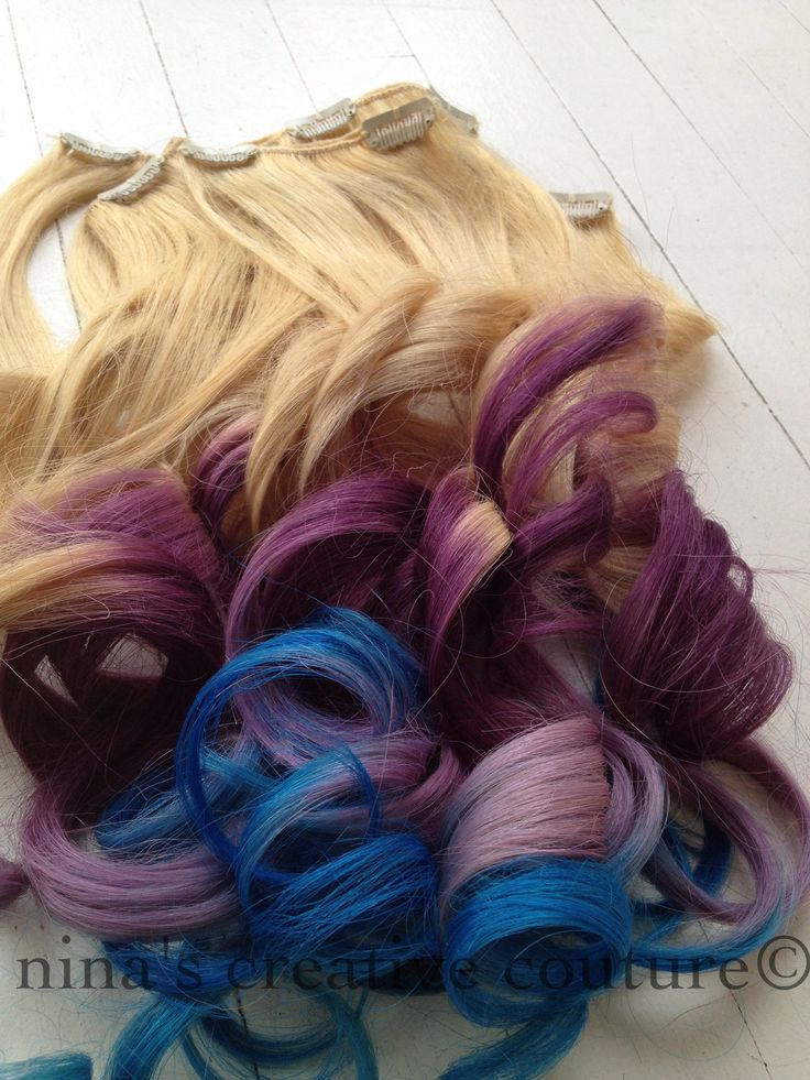 "Ombre Hair//Dip Dye Hair//Blonde Hair Extensions dipped in Magenta, Lavender and Blue//Full Set//20""/Ready To Ship. $199.00, via Etsy."