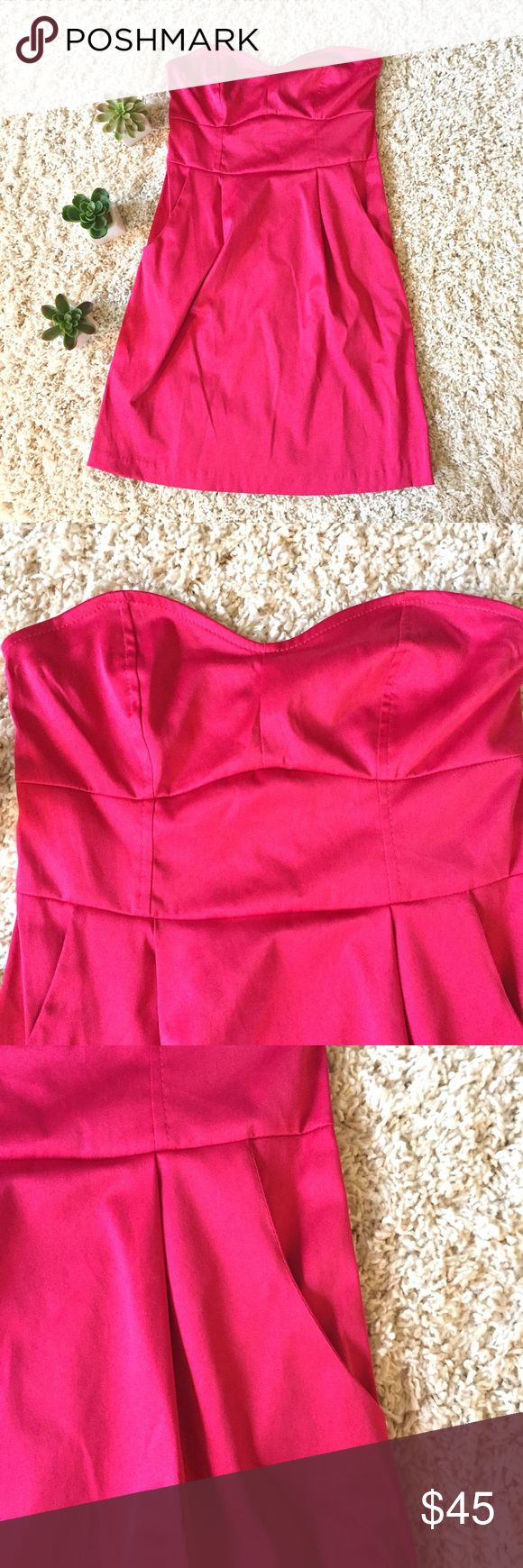 """Urban Outfitters Silence & Noise Pink Mini Dress Silence and Noise bright pink mini dress size XS.  Sweetheart bust with front pockets and a rear zipper.  Polyester/Cotton/Spandex.  Armpit to armpit 13"""" length 26"""" Urban Outfitters Dresses Mini"""