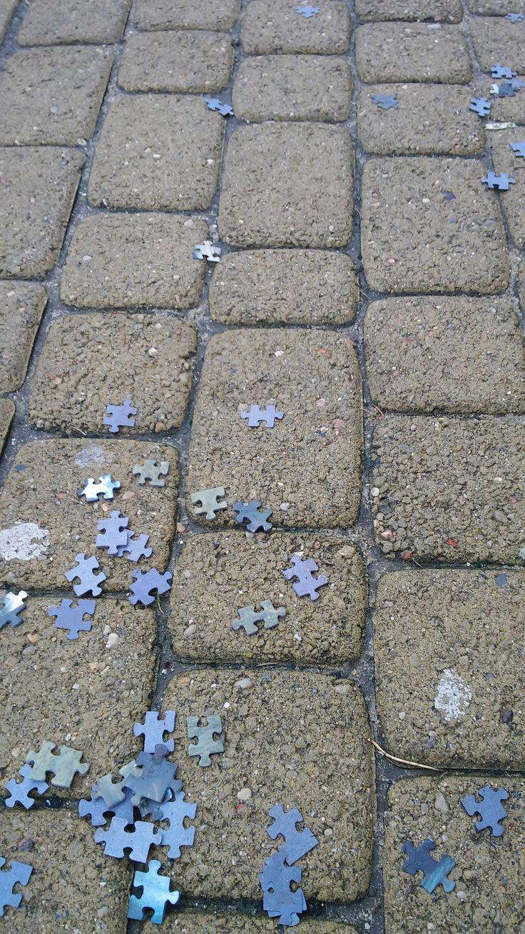 puzzle on sidewalk, Gdansk, Poland