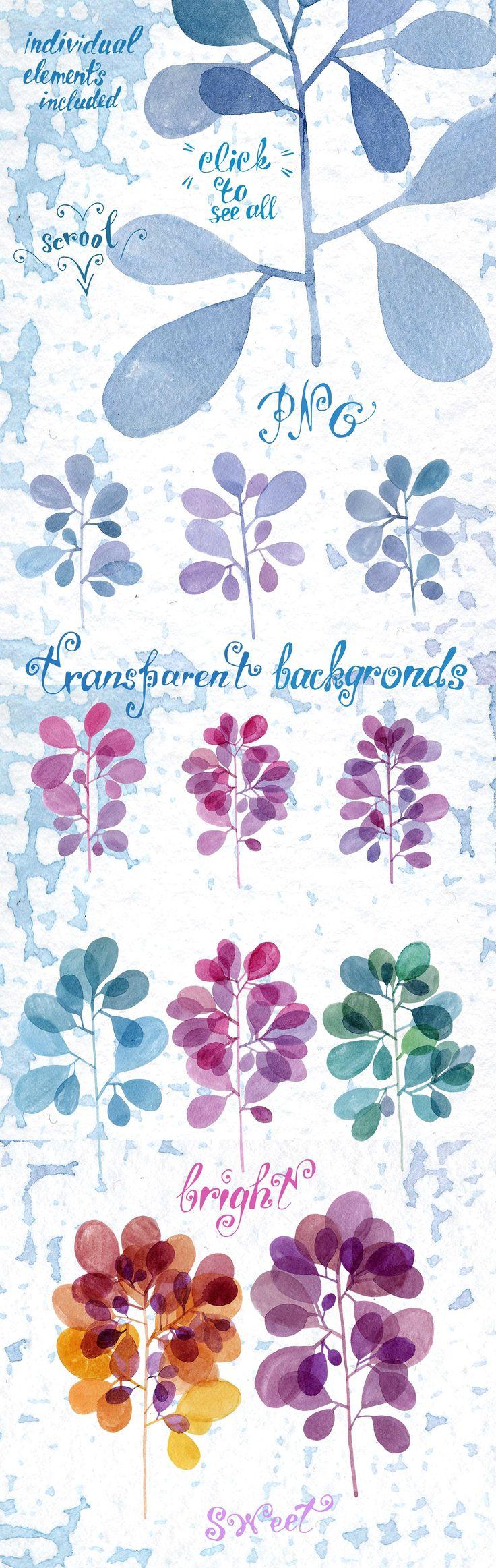 Watercolor twigs set by Vasilevska on @creativemarket