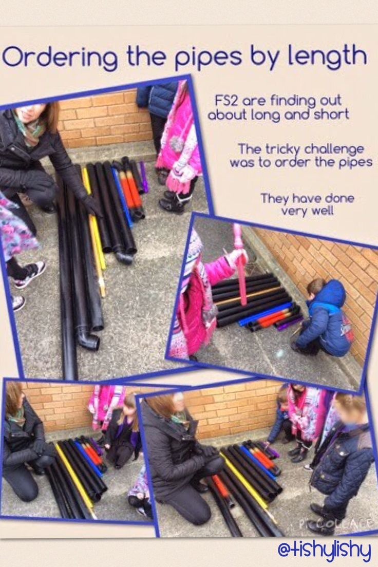 Adult led activity - ordering pipes by length.