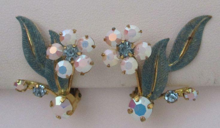 Vintage Blue Enamel/Pink & Blue Rhinestone Flower Earrings Austria  | eBay
