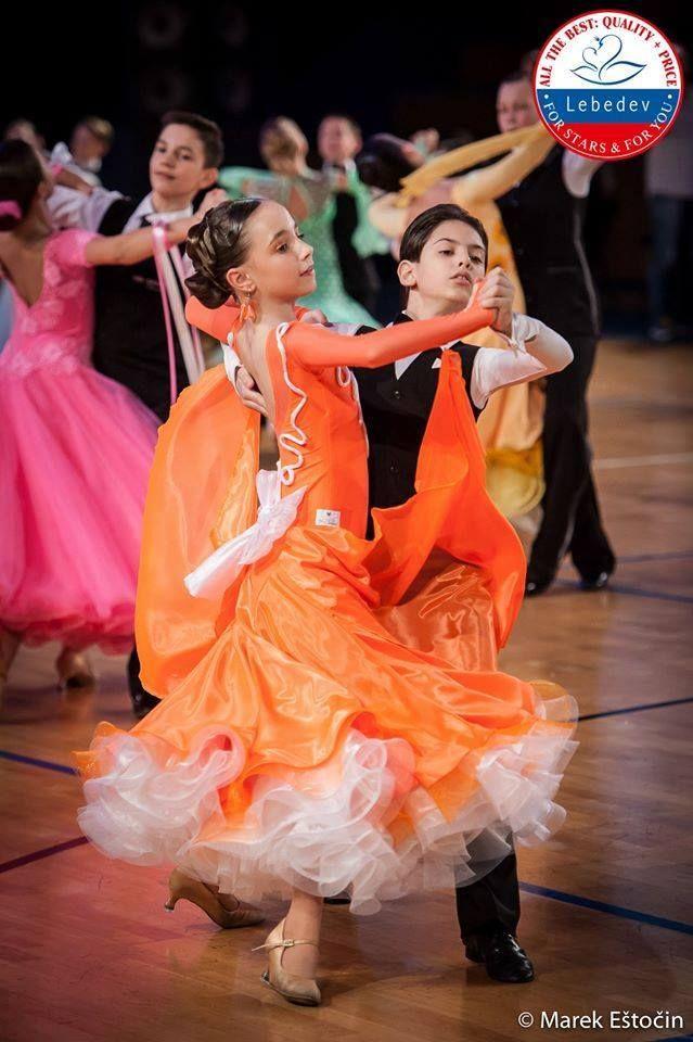 beuatiful orange-white ballroom dress