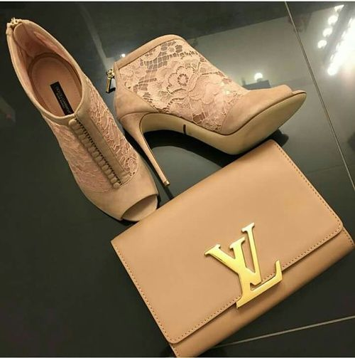 louis vuitton tan purse and lace ankle bootie