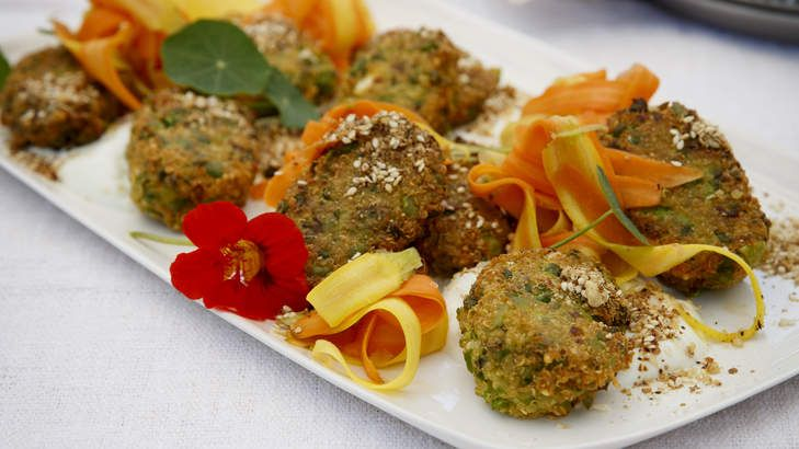Karen Martini: Pea, feta and quinoa fritters.