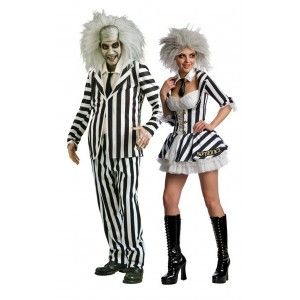 Couples Mr & Mrs Beetlejuice Fancy Dress Costume. Perfect for Halloween!