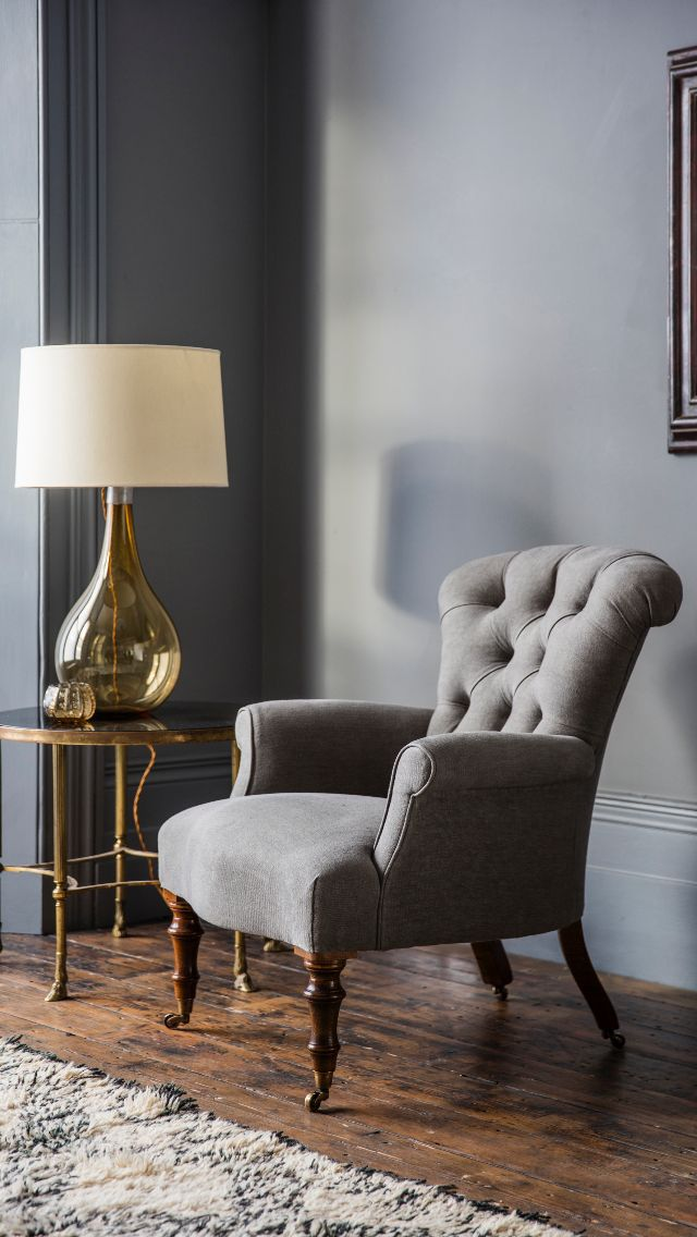 The Victorian chair is a very pretty and traditional occasional chair for a bedroom or sitting room. It has deep buttoning and a gently sloping back. Shown in Como Silk Velvet - Pompeiian Red.