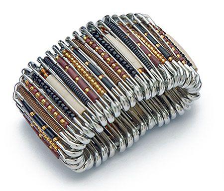 Handmade african safety pin bracelet