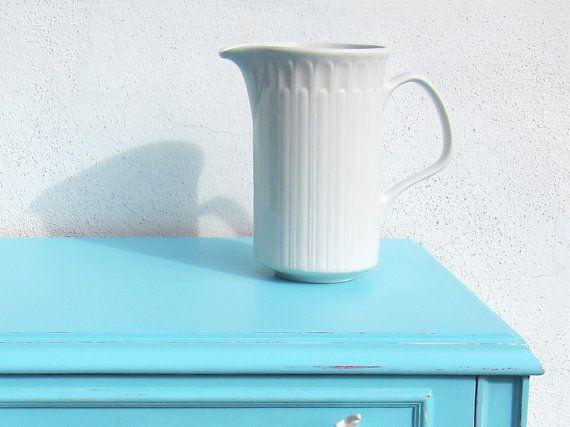 Mid Century Modern embossed white porcelain pitcher 1960s / Danish style vintage jug / Water jug / Flower vase / Spanish china vintage vase