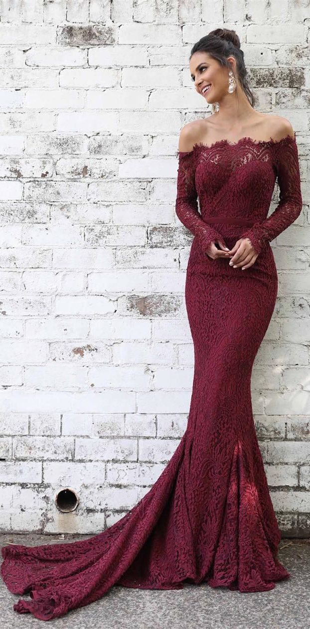 db197c3fc0523 Burgundy Prom Dresses,Lace Formal Dresses, Evening Dresses, Military Ball  Gown,Pageant Dresses, Maroon Prom Dresses, Long Sleeve Prom Dresses,Mermaid  Prom ...