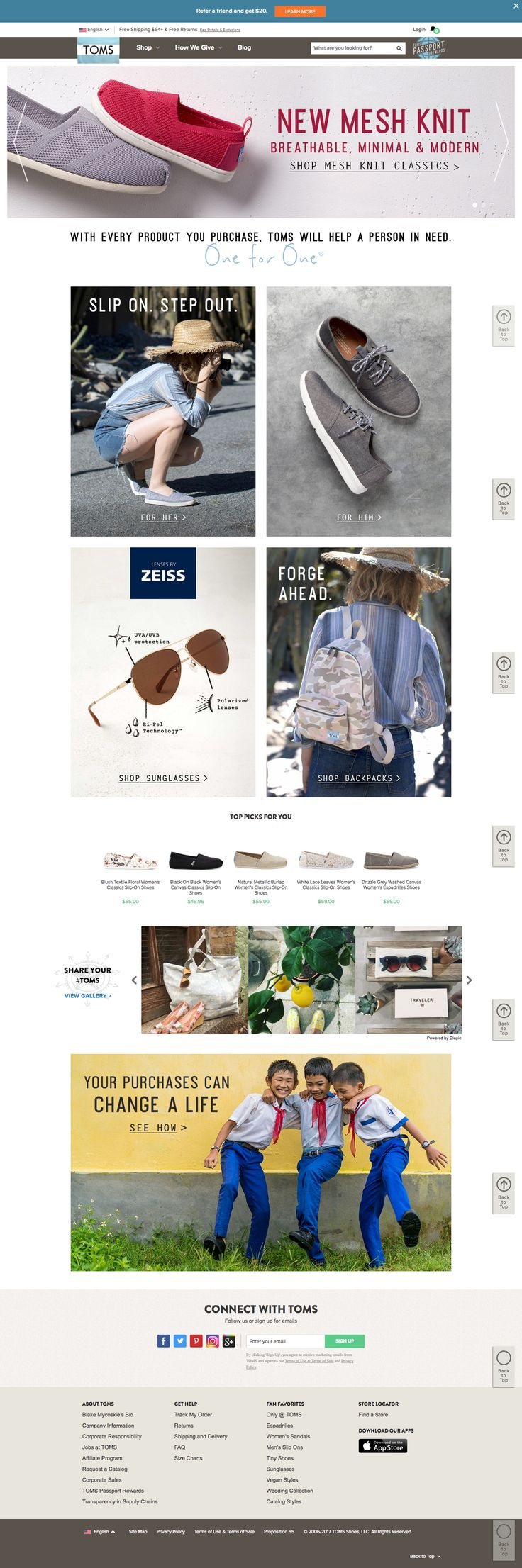 Toms is a one for one business. It focuses more con the actual product rather than on it's social impact.