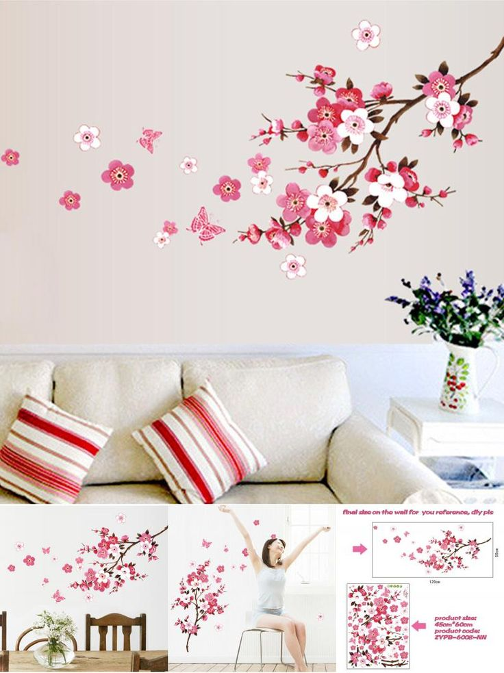 visit to buy wholesale beautiful sakura wall stickers living bedroom decorations diy flowers pvc home decals mural arts poster