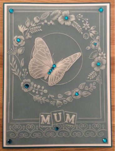 Butterfly and Lace Groovi card created by Lea Brawn
