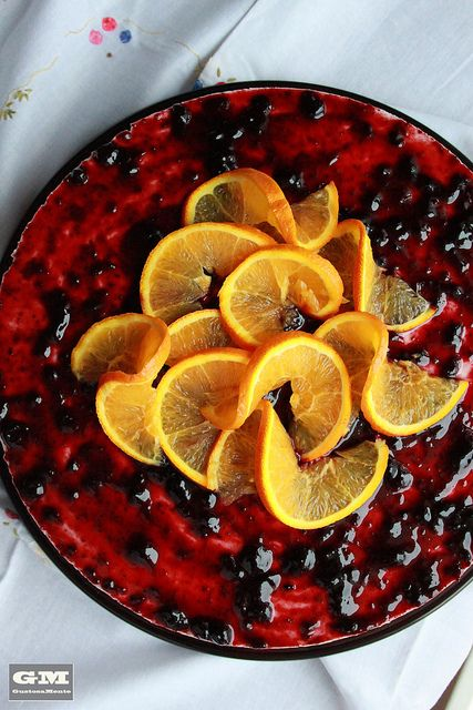 Cheese-cake orange and blueberries | http://gustosamente.blogspot.it/2013/05/cheese-cake-allarancia-e-confettura-di.html