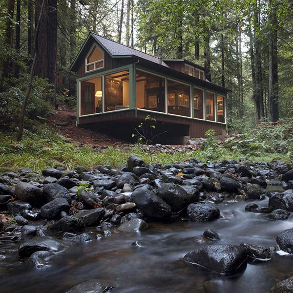 I want a small summer home in the woods with a huge screened in indoor/outdoor porch.