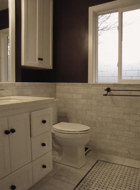 """Marble subway tile and floor tile """"rug"""""""