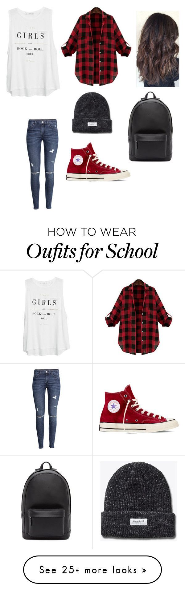 """""""A day at the school"""" by niallerbemine on Polyvore featuring MANGO, H&M, Convers..."""