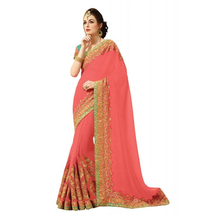 Appear stunningly lovely in such a Coral Net Saree. The ethnic Crystals Stones & Butta Work work at the clothing adds a sign of attractiveness statement with your look.