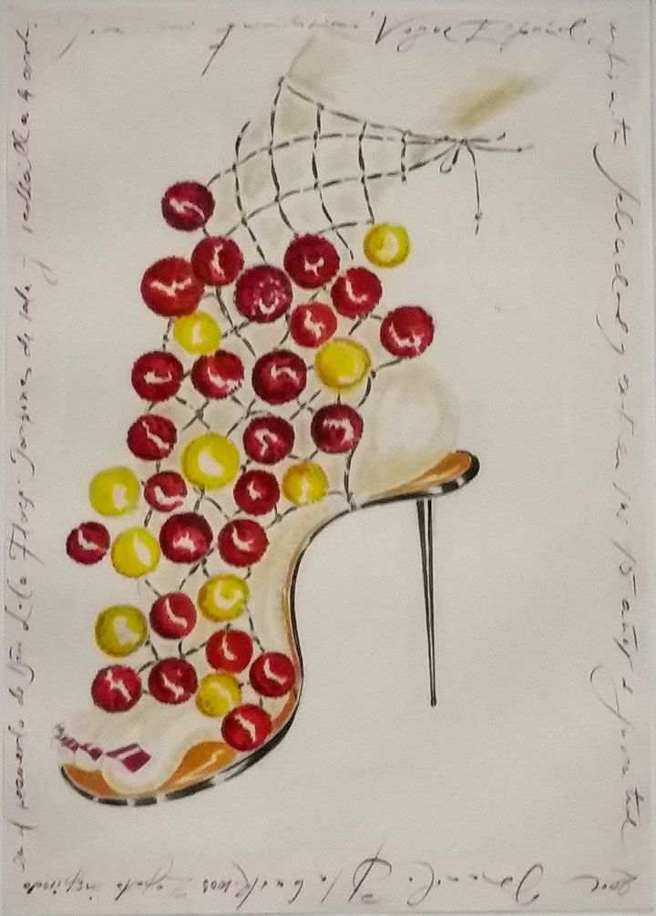 Manolo Blahanik sketch as seen at Palazzo Morando exhibit: Manolo Blahnik The art of shoes.