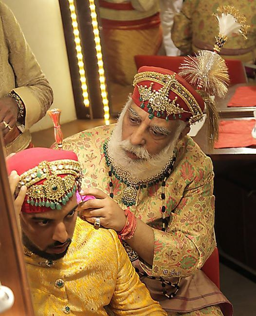 Arvindsinhji of Mewar with his son at the latter's wedding