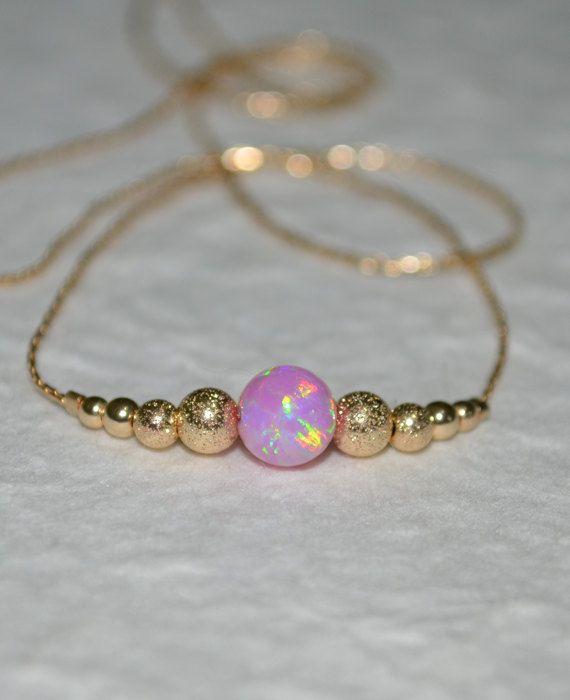 Rosa Opal Halskette kleine Opal Halskette von ModernJewelBoutique