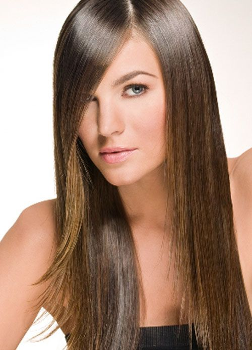 long straight hairstyles with side bangs | Hairstyle ideas