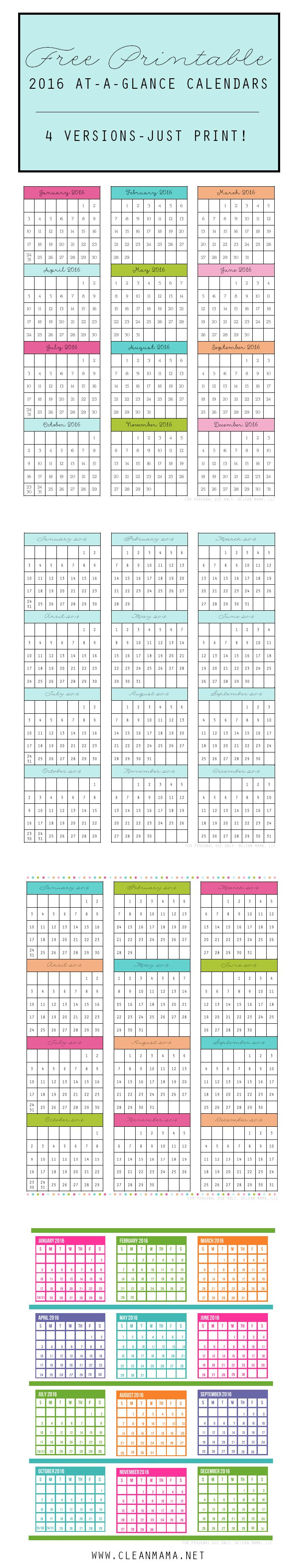 Add some organization with these FREE Printable 2016 At-A-Glance Calendars - 4 Versions - courtesy of Clean Mama