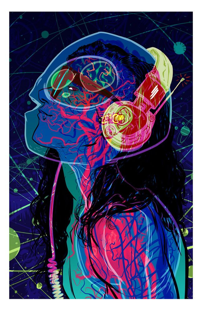 Image of Skrillex print by Nathan Fox