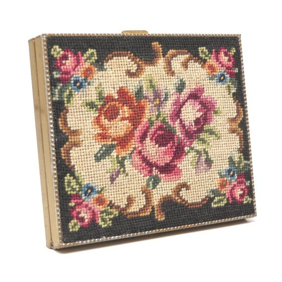 Vintage Compact Mirror Needlepoint Petit Point Compact 50s on Etsy, $51.00