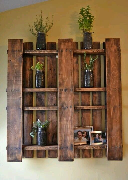 stained pallet wall storage