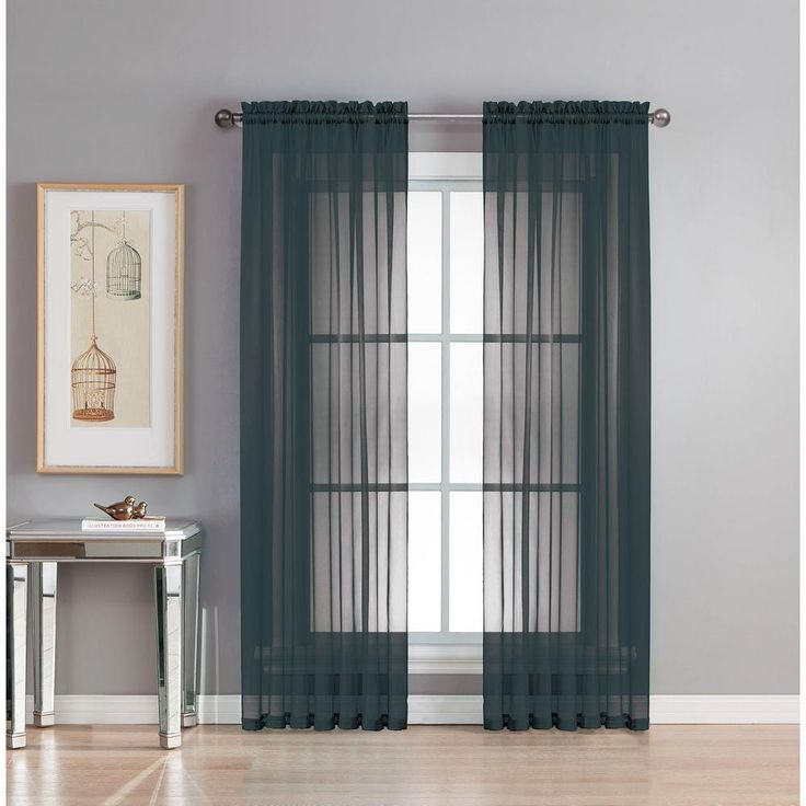 Window Elements Sheer Diamond Sheer Voile Extra Wide 84 in. L Rod Pocket Curtain Panel Pair, Black (Set of 2)