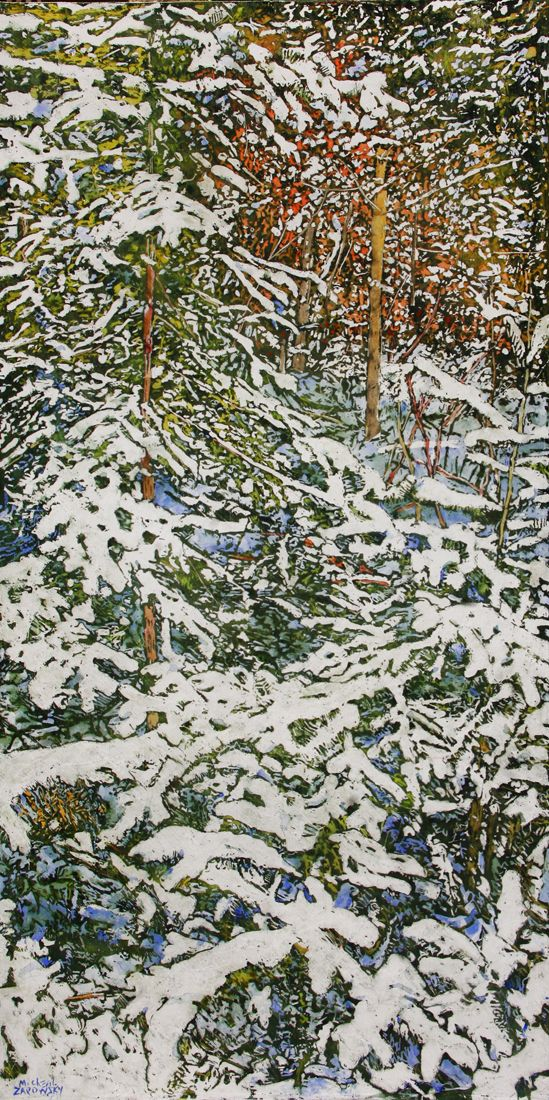 "overnight snowfall 54 48"" x 24"" micheal zarowsky / mixed media (watercolour / acrylic painted directly on gessoed birch panel) available $2800.00"