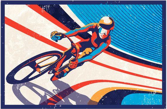 Retro Track Cycling Print Illustration Poster by sassanfilsoof, $25.00