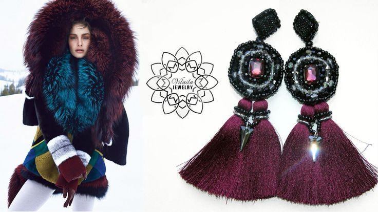 Handmade burgundy tassel earrings with Swarovski crystals by VilailaDesign