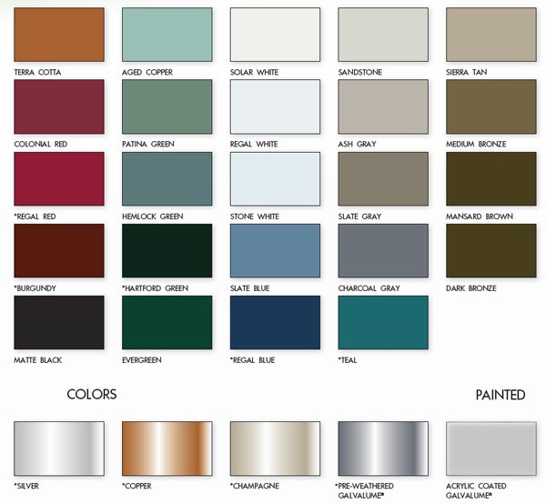 Metal Roofs Color Chart | Metal Roof Color Chart from Armor Metal Roofing