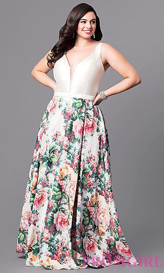 V-Neck Plus-Size Long Prom Dress with Print Skirt at PromGirl.com