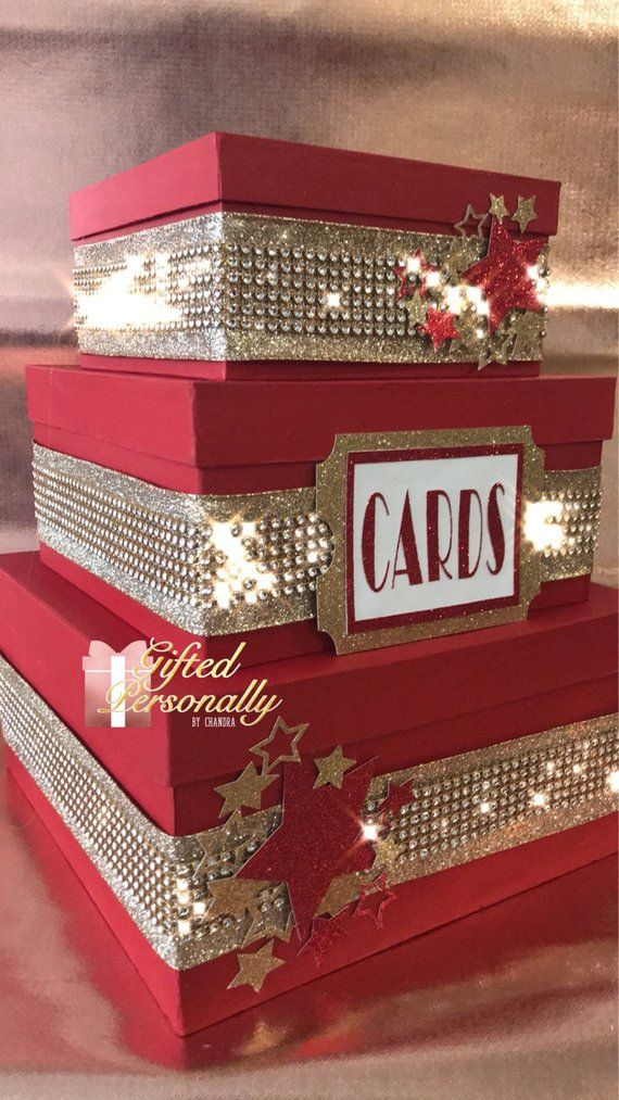 Hollywood Themed Gift Card Box 3 Tier Red Gold In 2019 Card