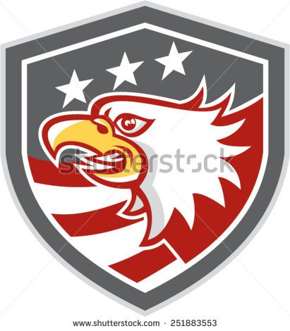 Illustration of an American bald eagle head viewed from the side with American stars and stripes set inside a shield crest done in retro style.