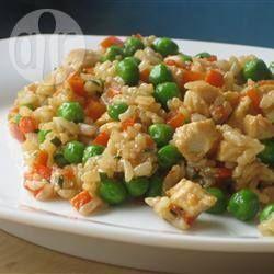 Photo de recette : Riz frit au poulet à l'ail
