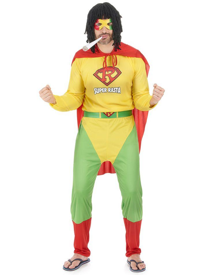 Déguisement Super Rasta : Ce déguisement de Super Rasta pour homme se compose d'une combinaison, d'une cape, d'une ceinture et d'un loup (fausse cigarette et chaussures non incluses). La combinaison est...