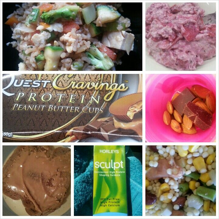 21 October 2013 Breakfast: sculpt shake (b4 bootcamp) and overnight oats with stewed apples and gooseberries and blackcurrants Lunch: tofu and vegetable fried rice Dinner: couscous, bean, celery and corn salad Snacks: almonds and dark chocolate ( am ) quest peanut butter cup (arvo) 1 slice toast with pb (after hockey)