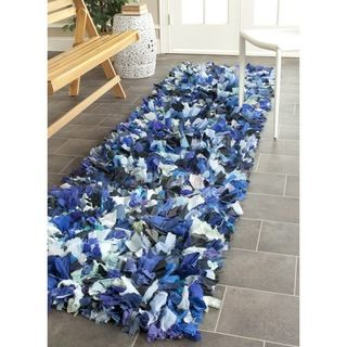 Safavieh Hand-woven Chic Blue Shag Rug (2'3 x 6') | Overstock™ Shopping - Great Deals on Safavieh Runner Rugs