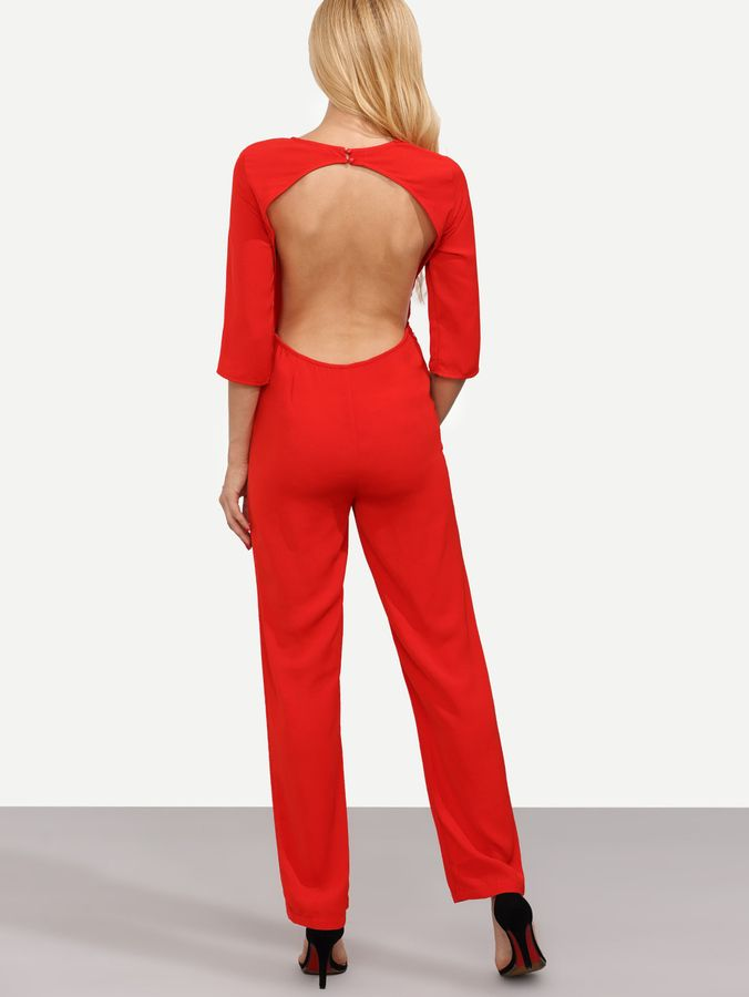 Shein Red Long Sleeve Backless Jumpsuit