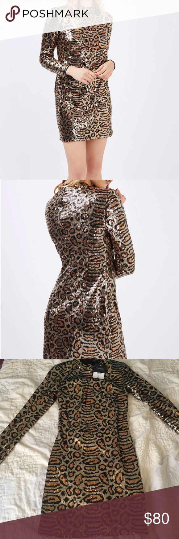 NWT Topshop Animal Print Sequin Dress. Size US 2 NWT Topshop Sequin Dress. Great for a night out! Topshop Dresses Long Sleeve