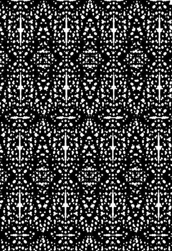 There is a strong vertical line that goes through the middle of this patterns motif and then a horizontal line above/ bellow giving the illusion of both height and width. The main shape I see in he piece is diamond and also a oval shape. There is not a lot of space in the pattern however the little space which is left allows the shapes created to be clearer on the eye making the print very busy but still easy to follow. Only black and white was used for this pattern making it monotone.