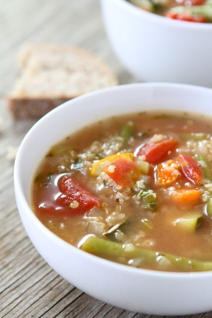 Vegetable Quinoa Soup • ingredients: onion, garlic, celery, zucchini, pumpkin, green beans,