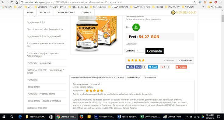 imagine din campania Litomove desfasurata de buzzstore.ro, 6.3.4. Review de produs pe site-urile de comert electronic care comercializeaza produsul Litomove http://farmshop.allshops.ro/produs/17927652/Litomove+cu+complex+Rosenoids+x+90+capsule.html  #buzzlitomove, #BuzzStore, #LITOMOVE, @BuzzStore